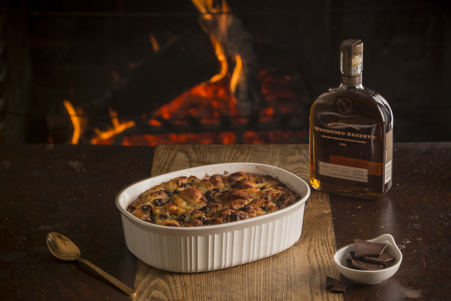 Chocolate Bread Pudding with Bourbon Butter